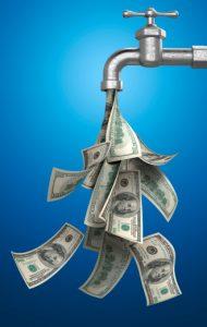 cash pouring